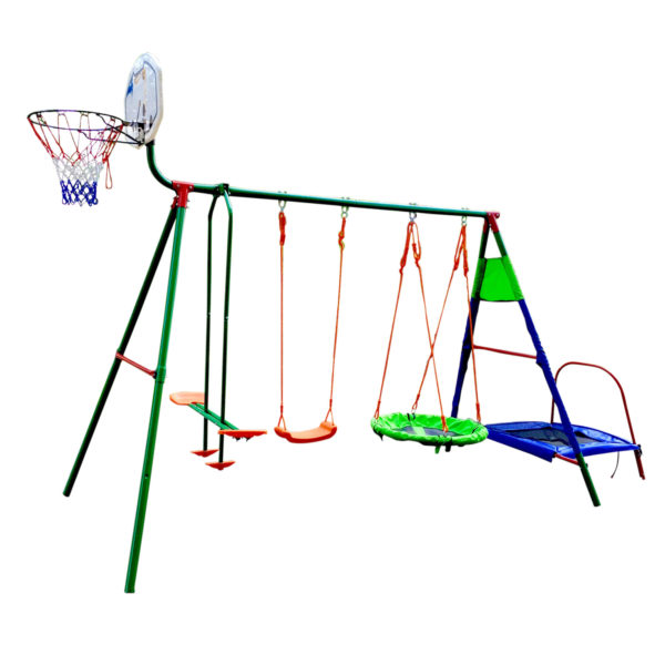 Детский комплекс с батутом и баскетболом DFC MTB-01 (два короба)-арт-MTB-01-