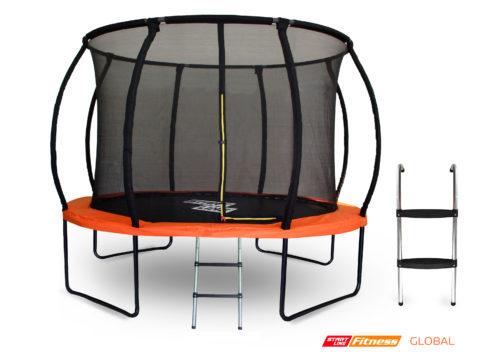 Батут GLOBAL PRO 10 футов с внутренней сеткой и лестницей