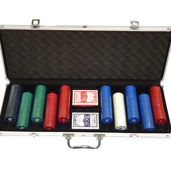 Набор для покера Simple на 500 фишек в серебристом кейсе