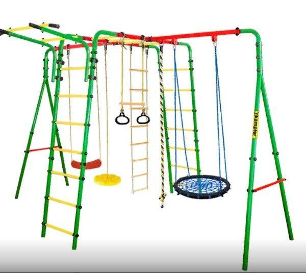 Уличный-детский-спортивный-комплекс-Kampfer-Wunder-качели-гнездо-60-см-зеленого-цвета