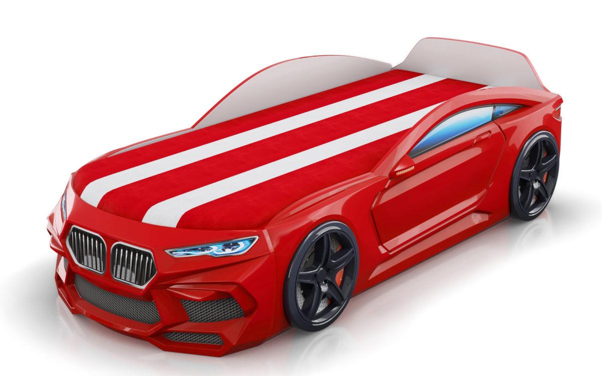 Детская-кровать-машина-Romack-Romeo-M красного цвета с матрасом с ящиками для белья