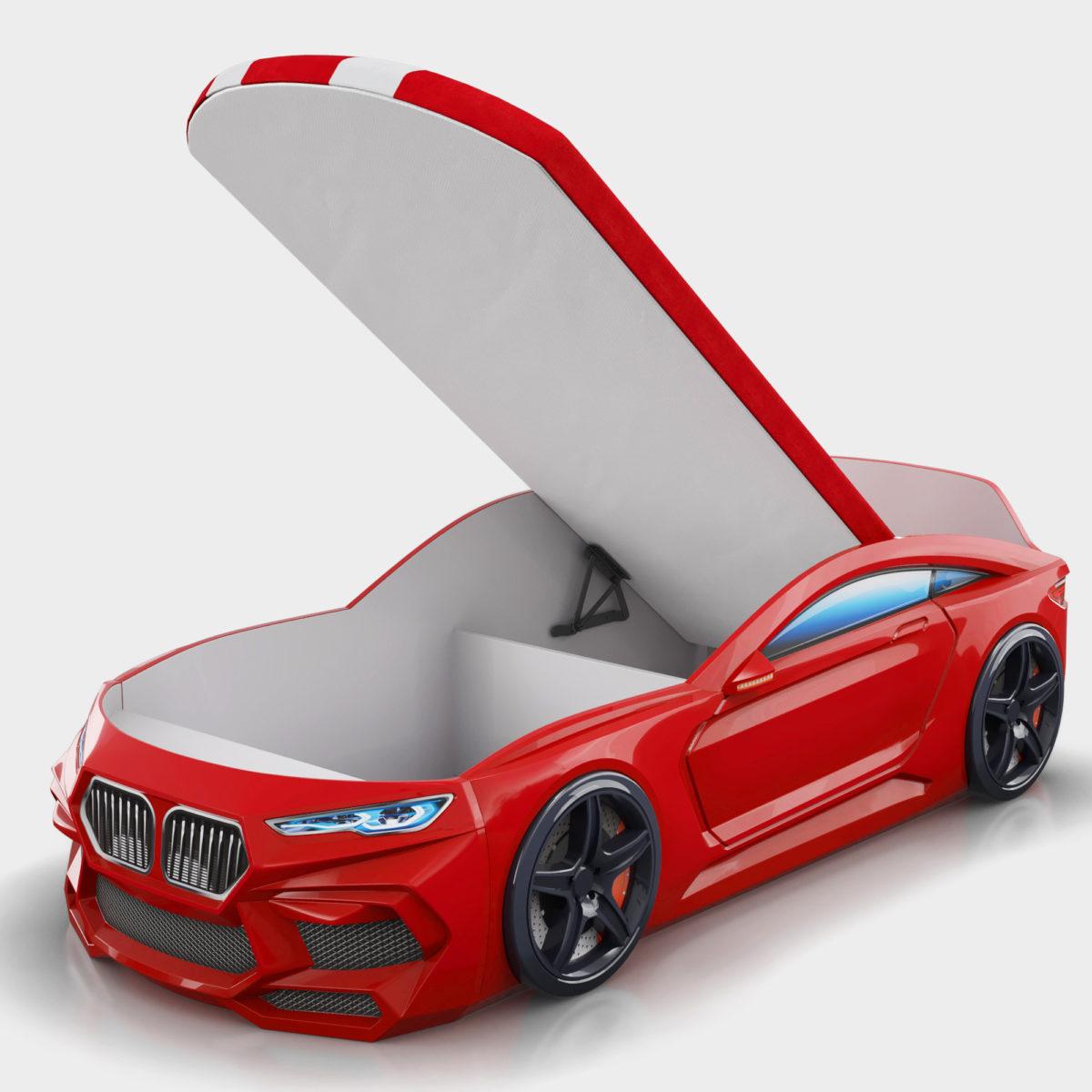 Детская-кровать-машина-Romack-Romeo-M красного цвета с ящиками для белья