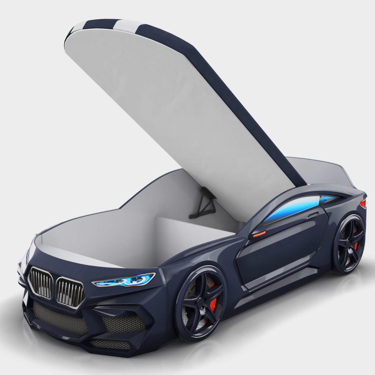 Детская-кровать-машина-Romack-Romeo-M-черная матрас ящик для белья в комплекте