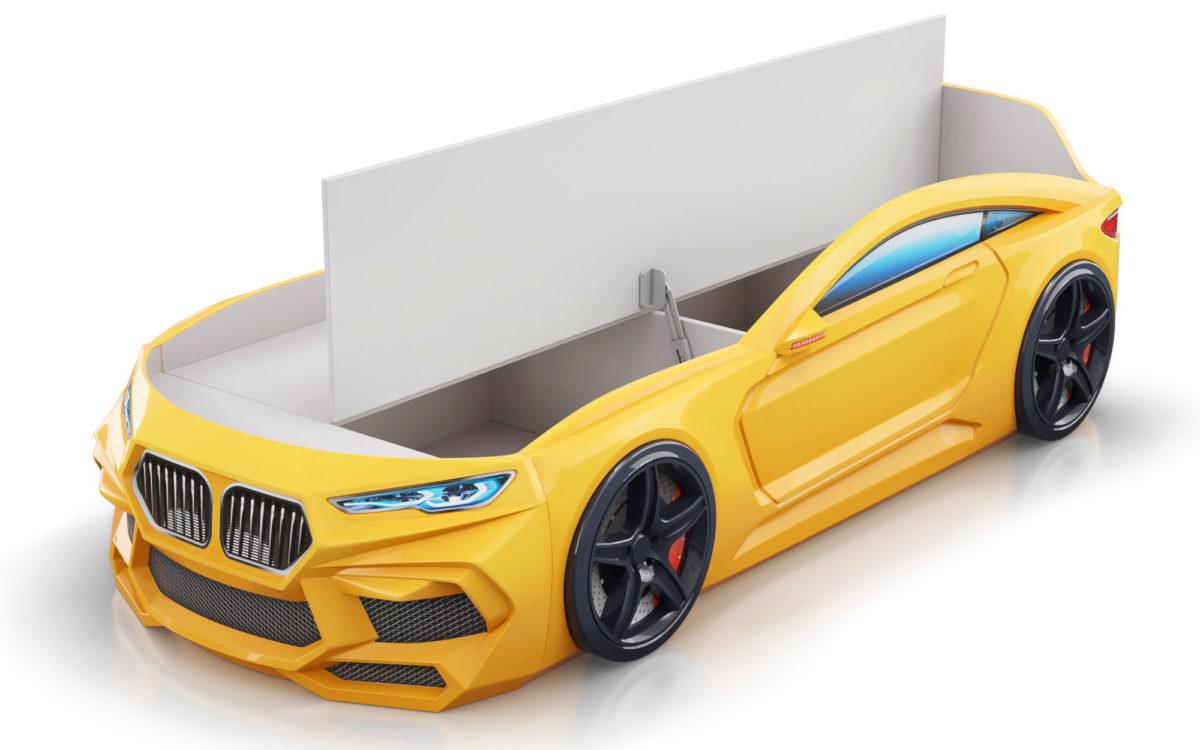 КРовать машина Romeo-желтая-с-ящиком-для-белья