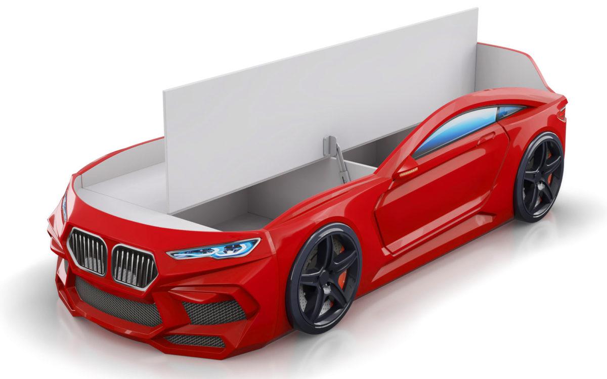 Кровать машина Romeo-красная-с-ящиком-для-белья
