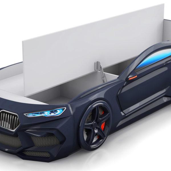 Кровать машина Romeo-черная-с-ящиком-для-белья